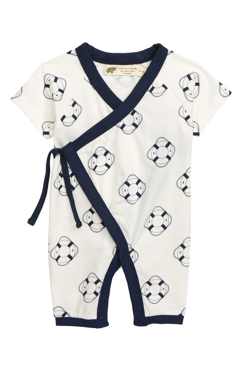 MONICA + ANDY Sweet Baby Stretch Organic Cotton Wrap Romper, Main, color, WELCOME ABOARD