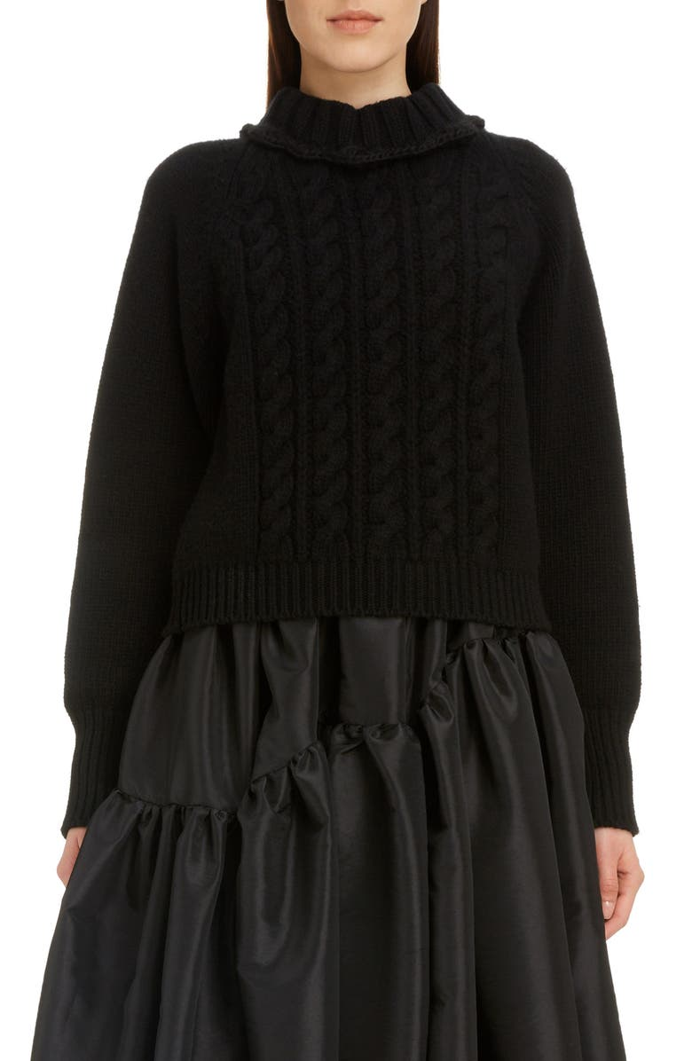 CECILIE BAHNSEN Cecili Bahnsen Torun Wool Sweater, Main, color, BLACK