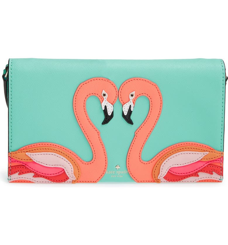 KATE SPADE NEW YORK 'strut your stuff - flamingo cali' clutch, Main, color, 441