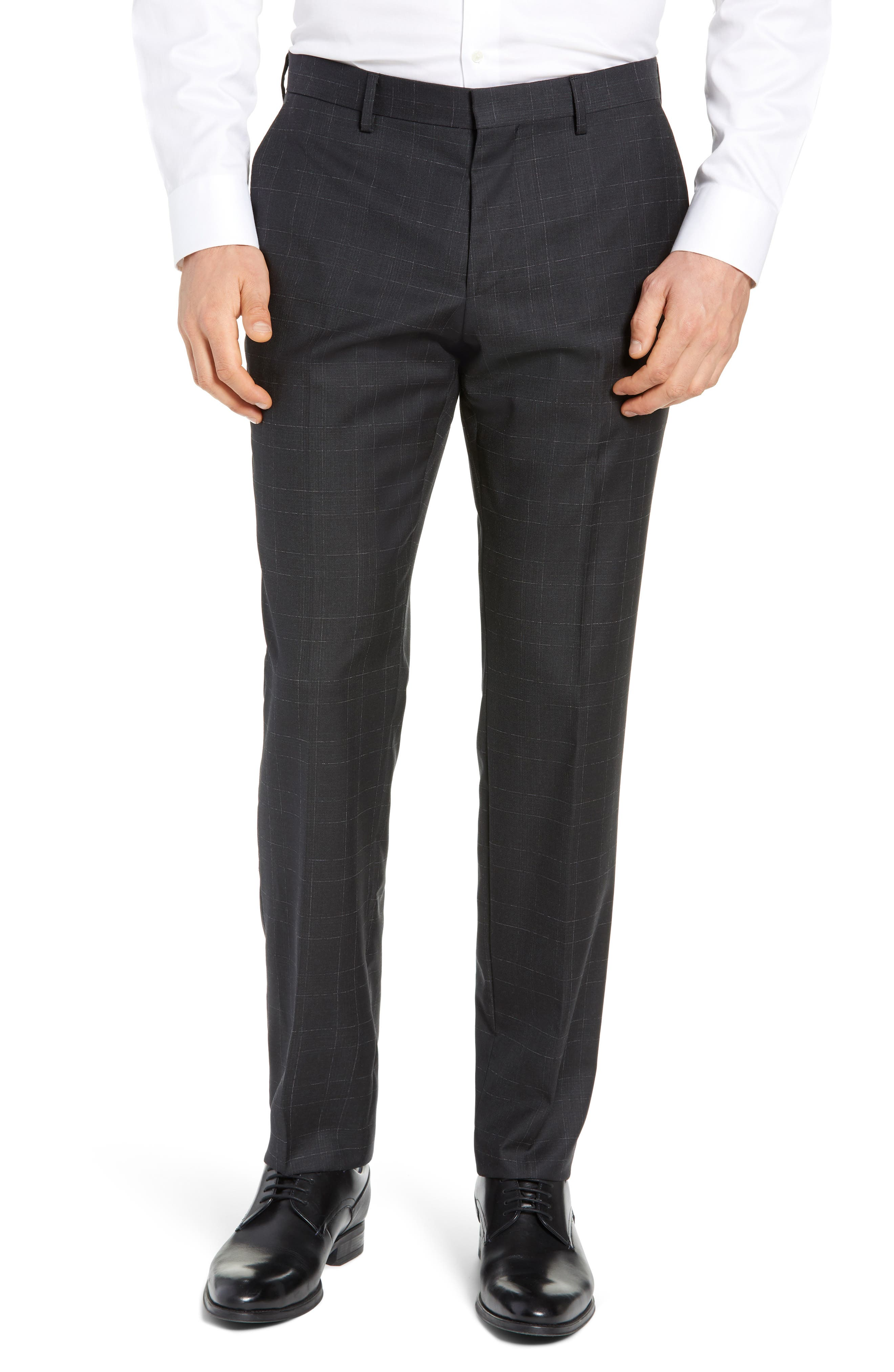 Genesis Flat Front Plaid Wool Trousers, Main, color, 020