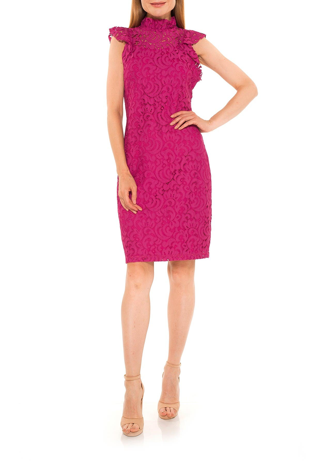 Image of Alexia Admor Kendall Lace Cap Sleeve Sheath Dress