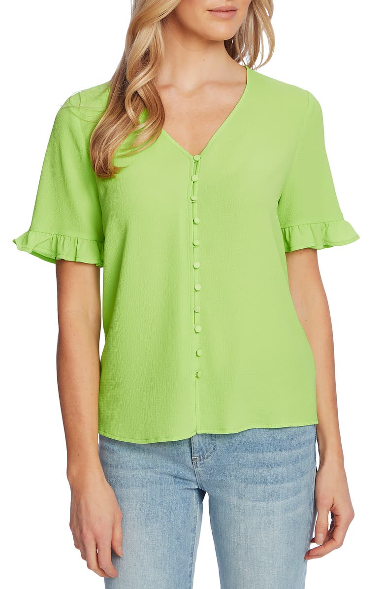 CECE Ruffle Sleeve Crepe Blouse, Main, color, MINT GLOW