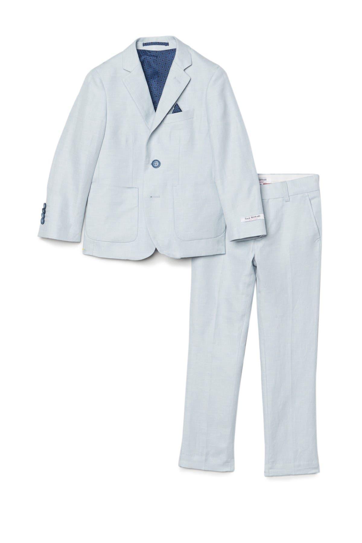 Image of Isaac Mizrahi Slim Fit 2-Button Textured Cotton Linen Suit