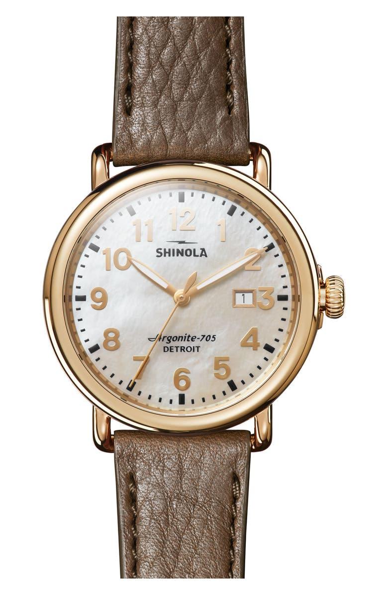 SHINOLA 'Runwell' Leather Strap Watch, 41mm, Main, color, WALNUT/ MOP/ GOLD
