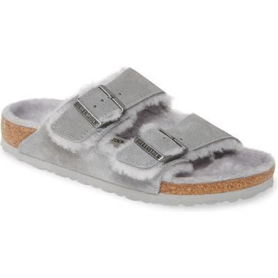 Birkenstock Arizona Genuine Shearling Slide Sandal,8.5 B - Grey