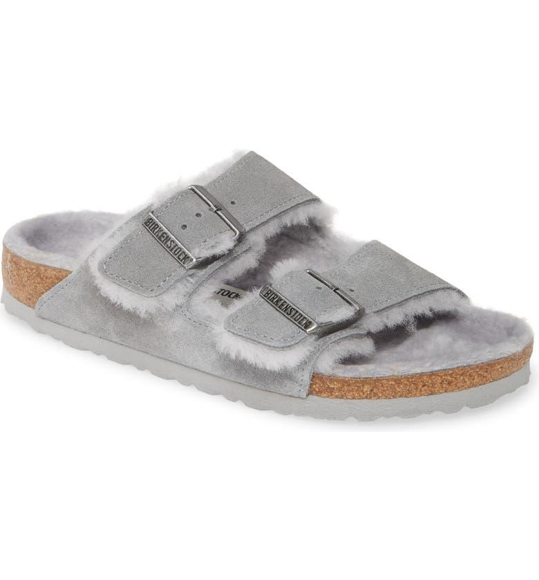 BIRKENSTOCK Arizona Genuine Shearling Slide Sandal, Main, color, DOVE GREY SUEDE/ SHEARLING