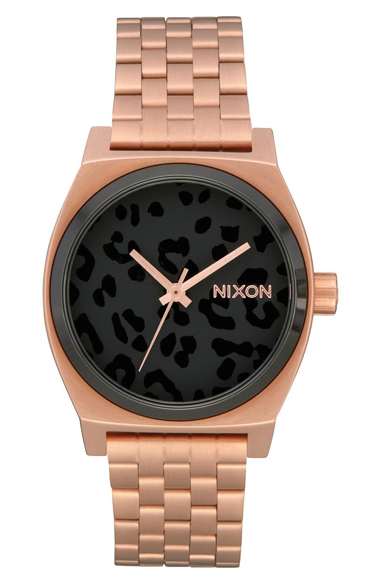 NIXON The Time Teller Bracelet Watch, 31mm, Main, color, ROSE GOLD/ CHEETAH/ ROSE GOLD