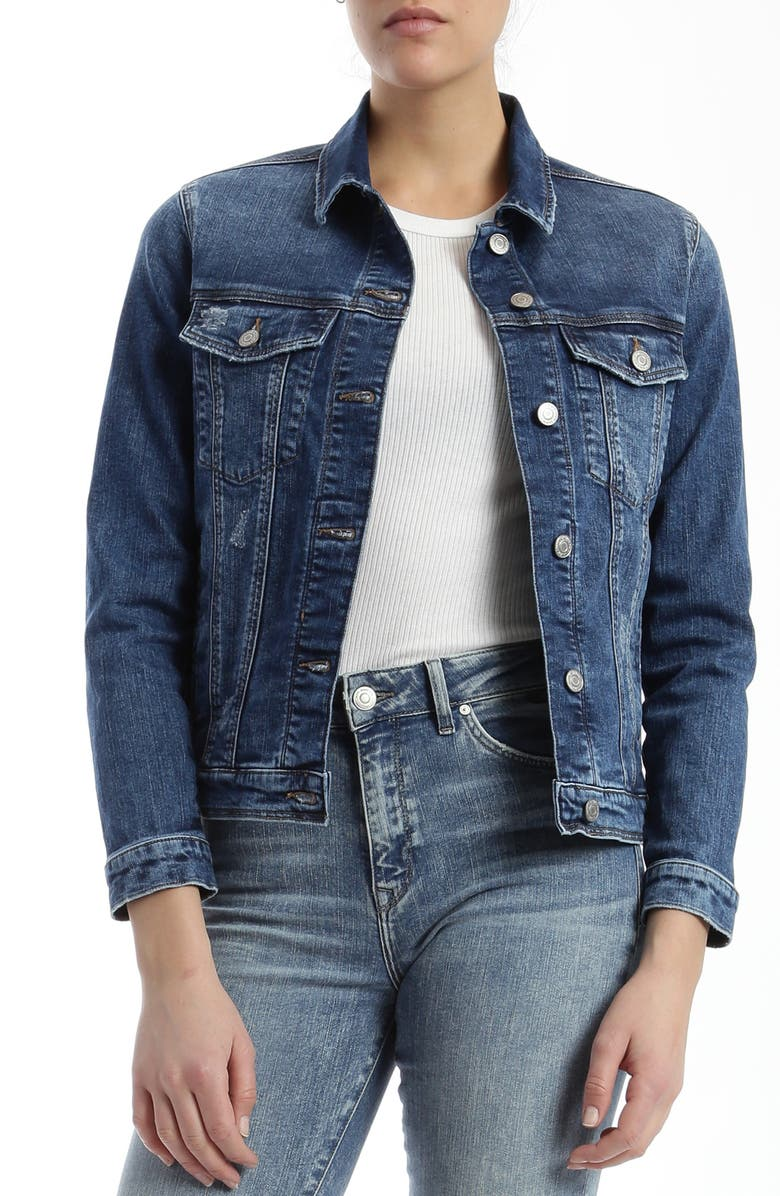 MAVI JEANS Katy Distressed Denim Jacket, Main, color, DARK RANDOM VINTAGE