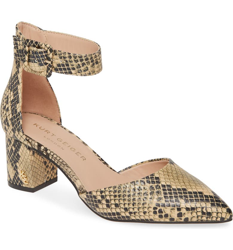 KURT GEIGER LONDON Burlington Ankle Strap Pump, Main, color, BEIGE COMB SNAKESKIN