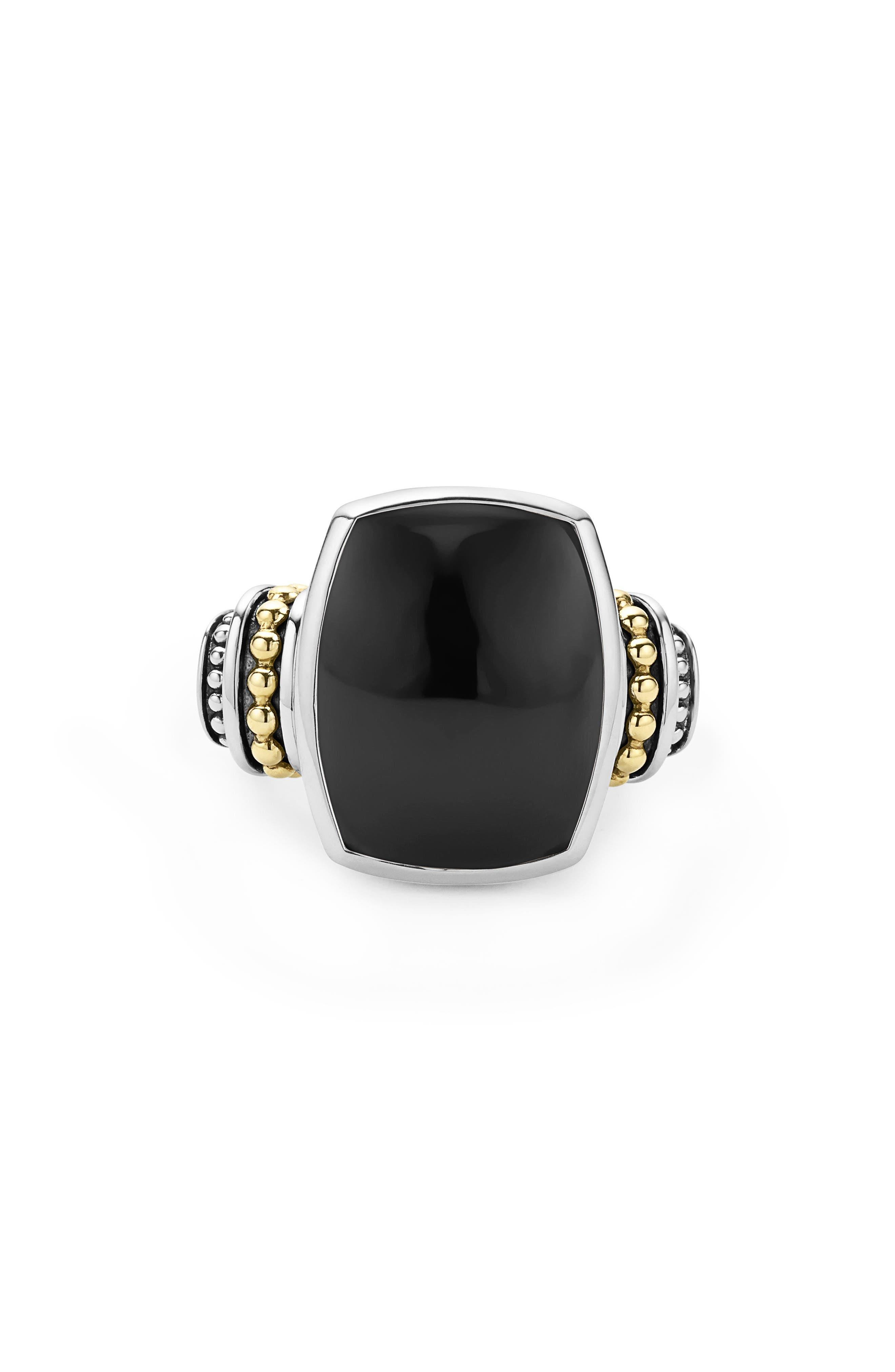 ,                             'Caviar Color' Large Semiprecious Stone Ring,                             Alternate thumbnail 4, color,                             BLACK ONYX