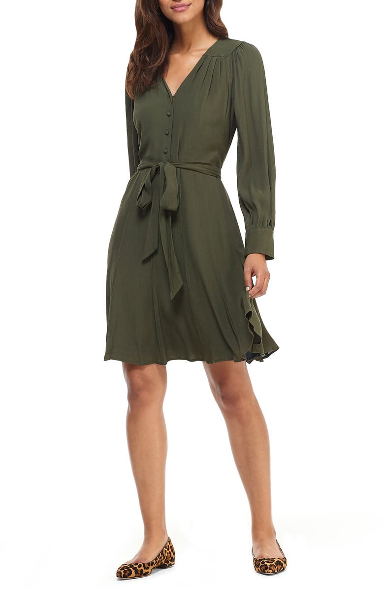 GAL MEETS GLAM COLLECTION Savannah Long Sleeve Fit & Flare Shirtdress, Main, color, WOODLAND