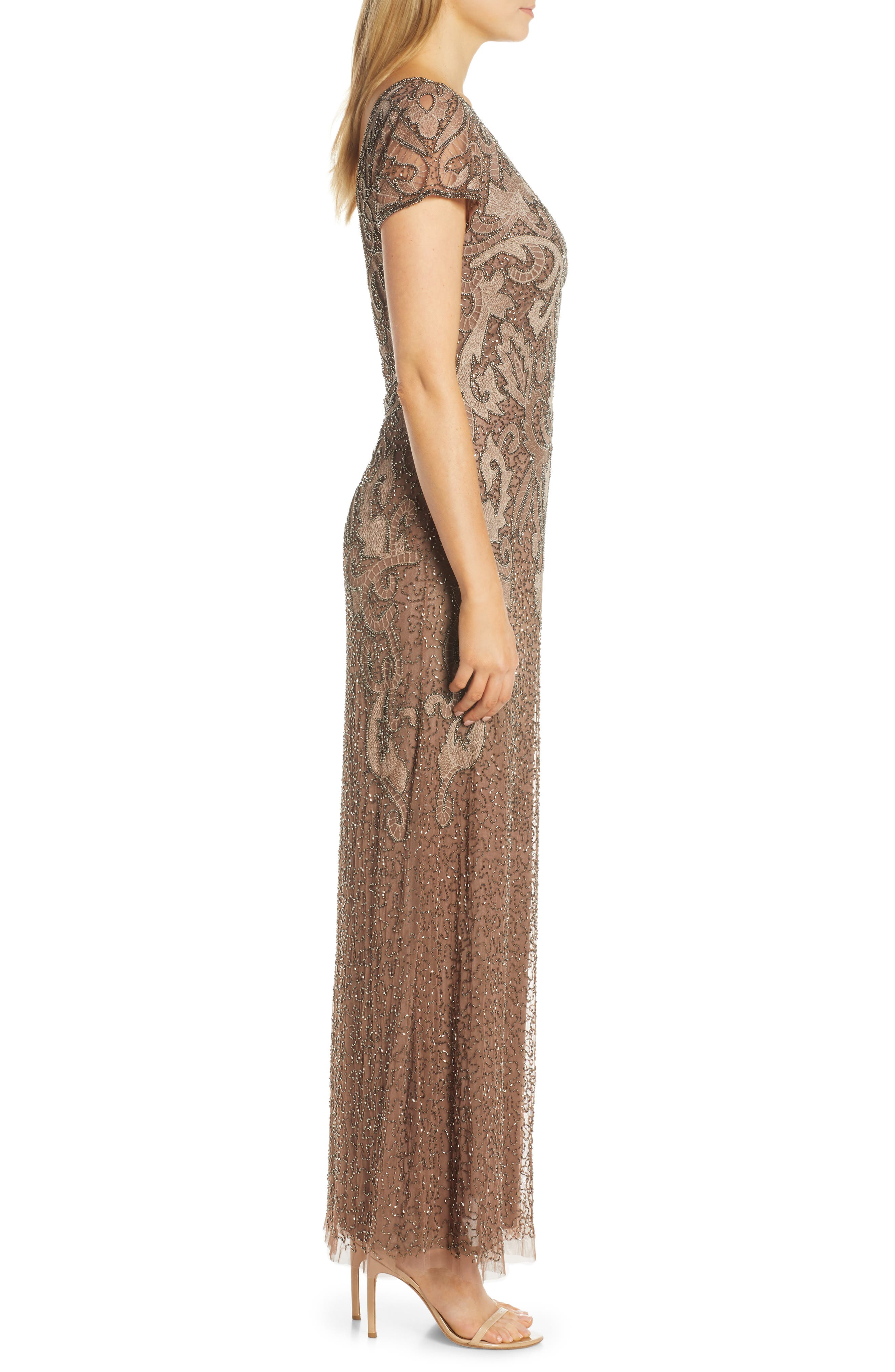 ,                             Embroidered Mesh Gown,                             Alternate thumbnail 6, color,                             MOCHA