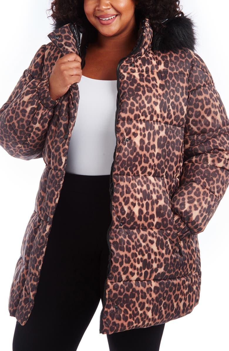 RACHEL RACHEL ROY Animal Print Puffer Coat with Faux Fur Trim, Main, color, 250