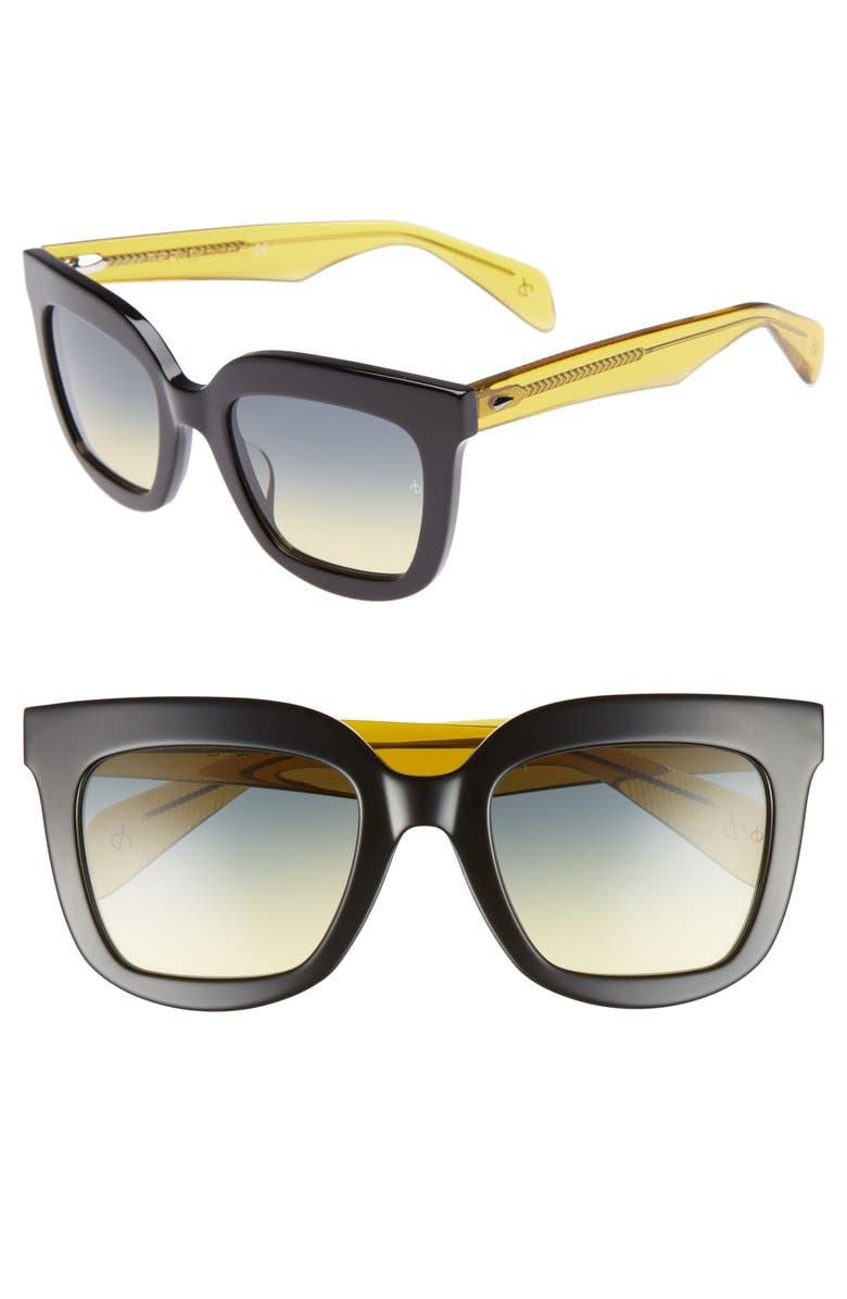 RAG & BONE 52mm Rectangular Sunglasses, Main, color, BLACK/ YELLOW