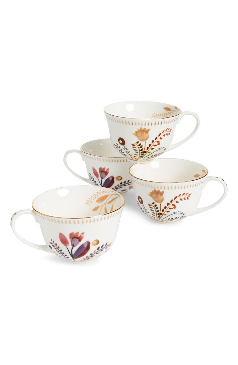 ANTHROPOLOGIE HOME Pheasant Moths Set of 4 Mugs, Main, color, 100