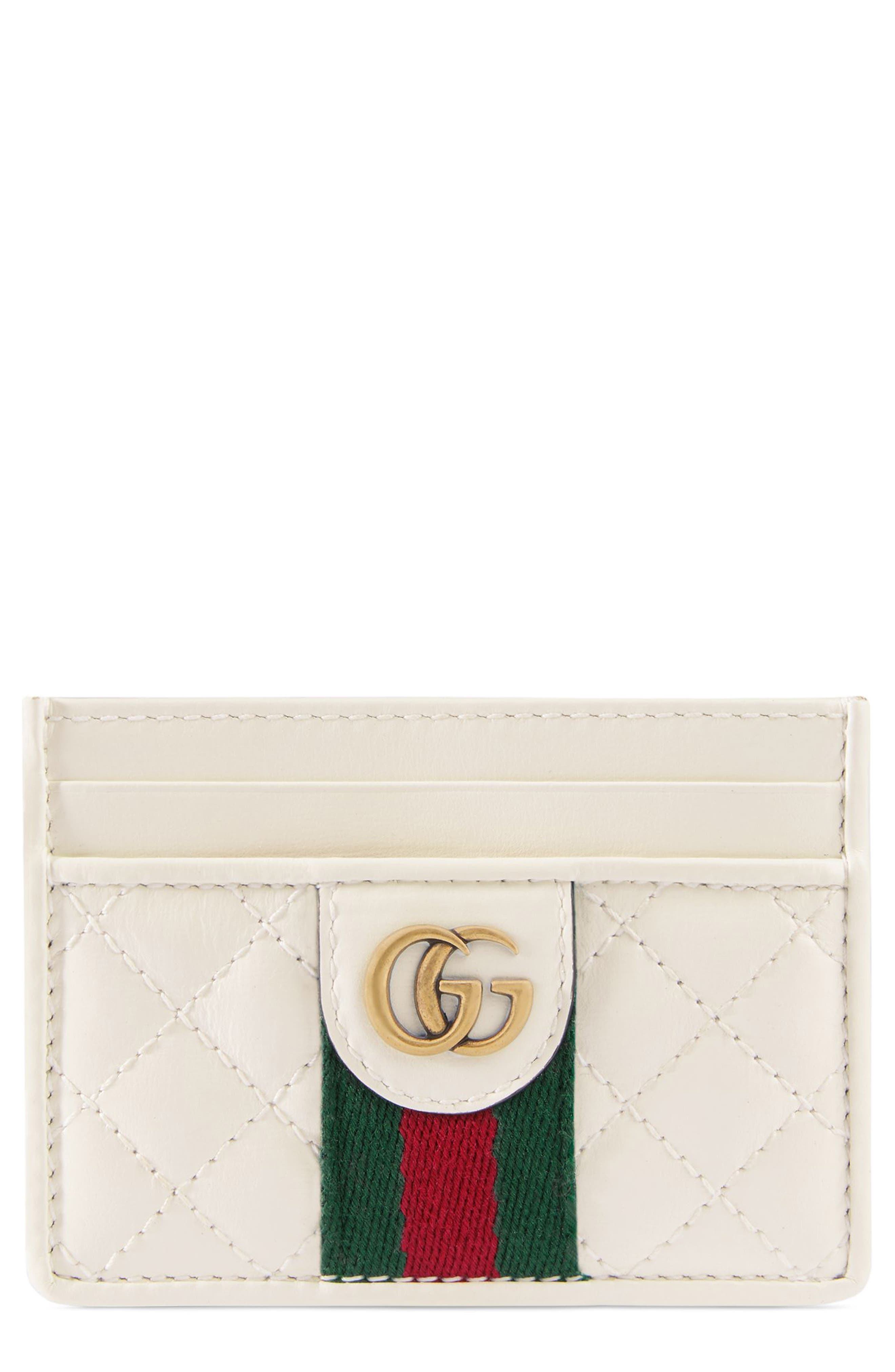 Quilted Leather Card Case, Main, color, OFF WHITE/ VERT/ RED