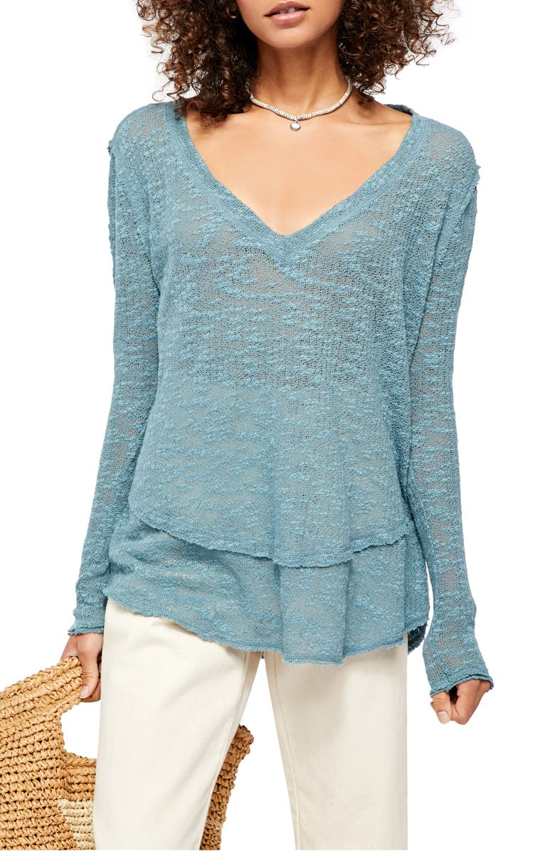 FREE PEOPLE Ocean Air Hacci Pullover, Main, color, MOSS