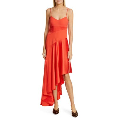 Nicholas Blocked Asymmetrical Hem Dress, Red