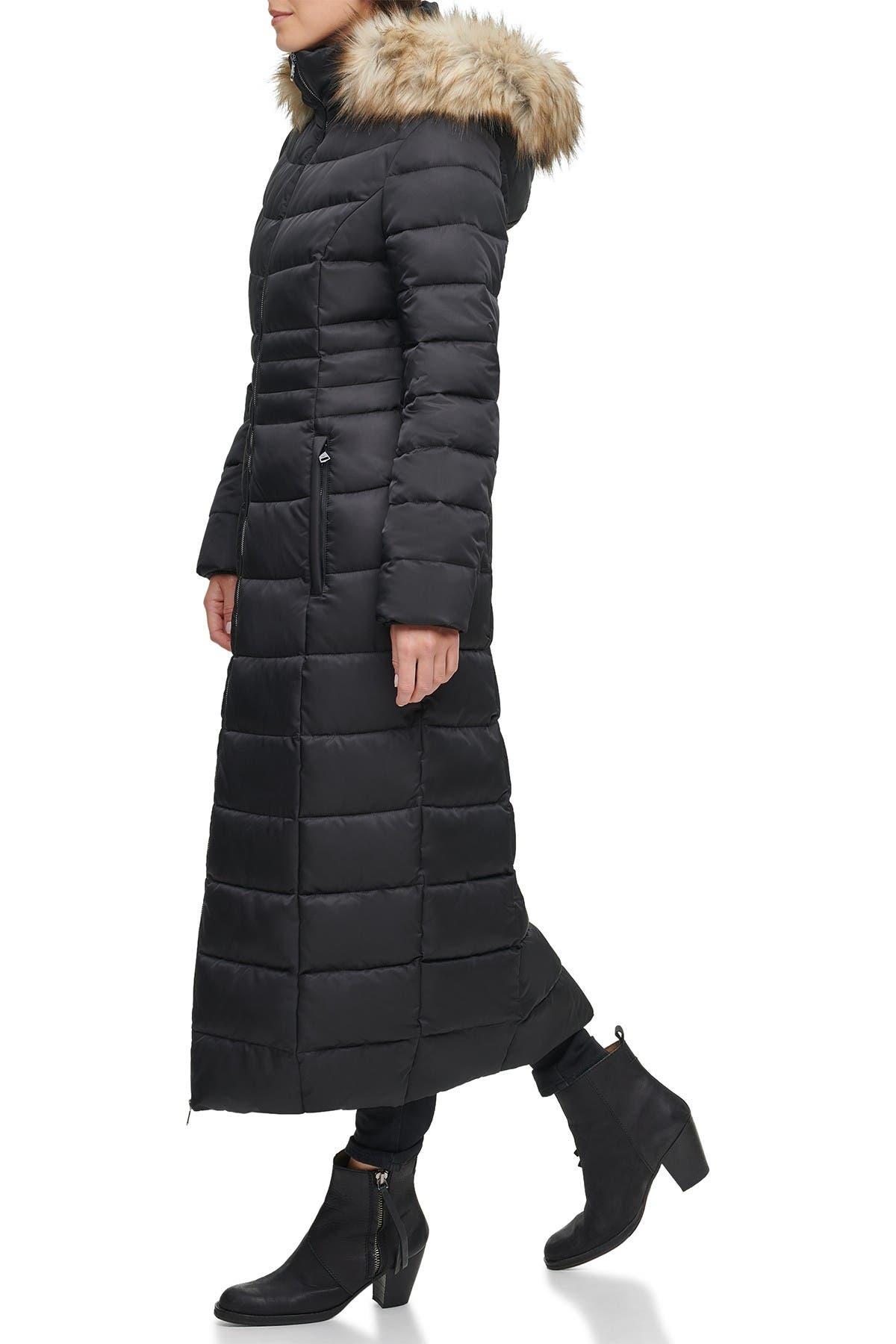 KENNETH COLE Faux Fur Hood Zip Front Puffer Jacket