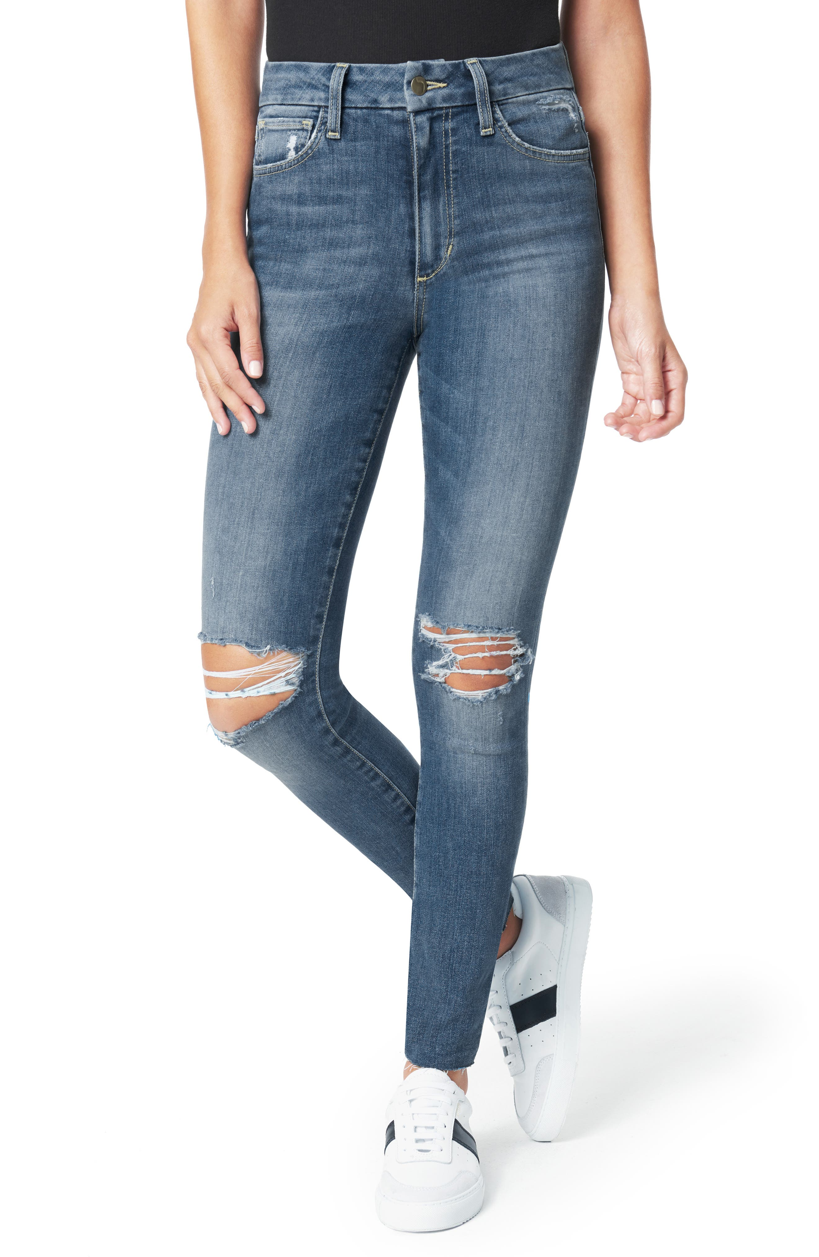 Women's Joe's The Hi Honey Ripped Cut Hem Ankle Skinny Jeans,  27 - Blue