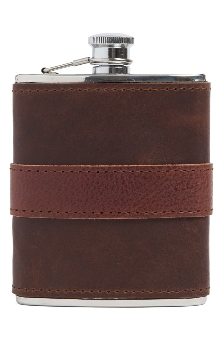 MOORE & GILES Leather Wrapped Flask, Main, color, CHOCOLATE
