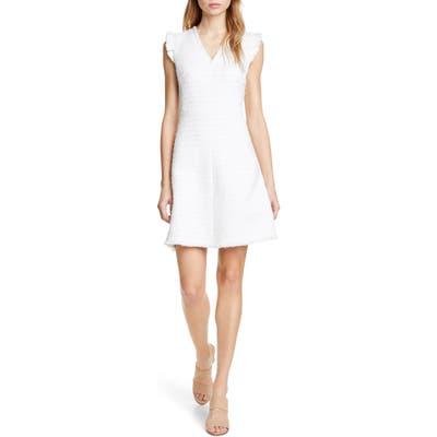 Rebecca Taylor Tweed Stripe Sleeveless Fit & Flare Dress, Ivory
