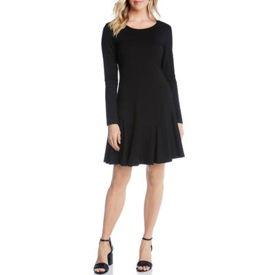 Karen Kane Dakota Ruffle Hem A-Line Dress, Black