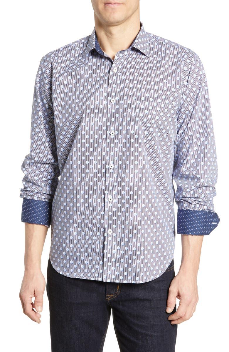 BUGATCHI Classic Fit Print Cotton Sport Shirt, Main, color, NAVY