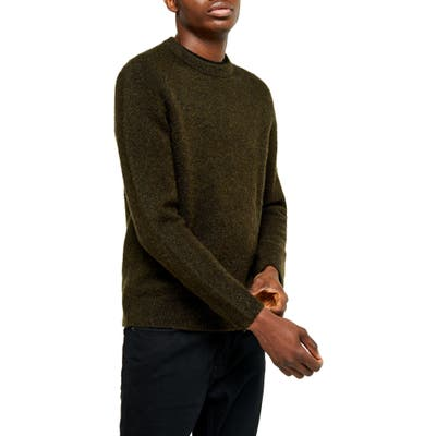 Topman Harlow Classic Fit Solid Crewneck Sweater, Green