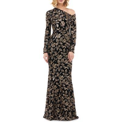 Kay Unger Francesca One-Shoulder Velvet Evening Gown, Black