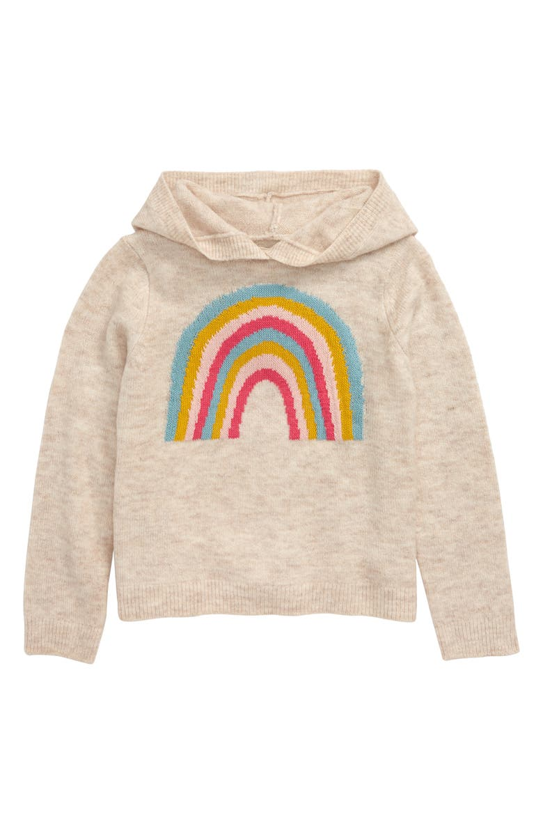 TUCKER + TATE Rainbow Knit Hoodie, Main, color, BEIGE OATMEAL HEATHER RAINBOW