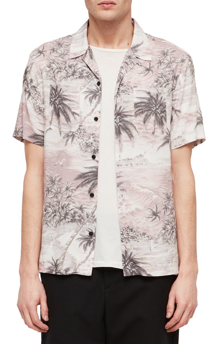 ALLSAINTS Tiki Slim Fit Print Camp Shirt, Main, color, 020