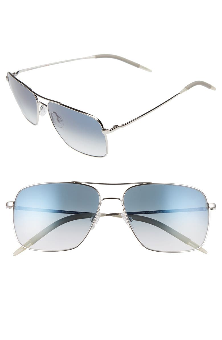 OLIVER PEOPLES Clifton 58mm Aviator Sunglasses, Main, color, SILVER
