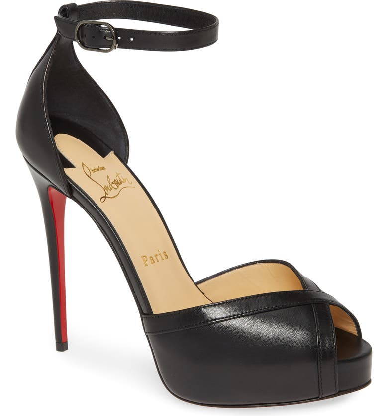 CHRISTIAN LOUBOUTIN Very Cathy Ankle Strap Peep Toe Pump, Main, color, BLACK