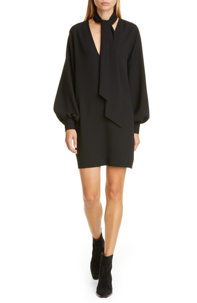 GANNI Long Sleeve Heavy Crepe Minidress, Main, color, BLACK
