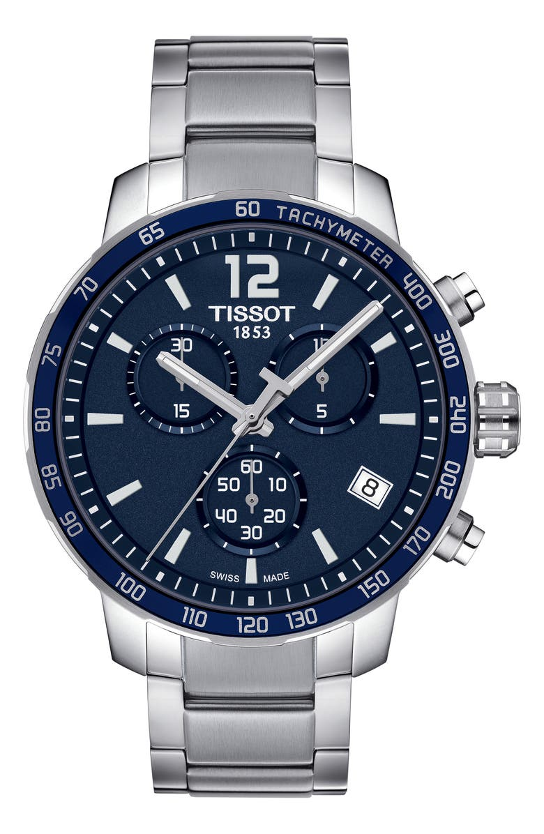 TISSOT Quickster Chronograph Bracelet Watch, 42mm, Main, color, SILVER/ BLUE