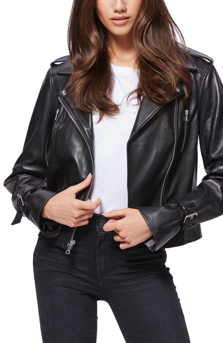 PAIGE Rayven Leather Moto Jacket, Main, color, BLACK