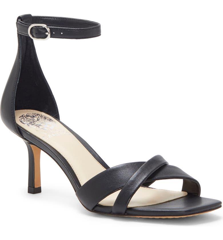 VINCE CAMUTO Sarriss Ankle Strap Sandal, Main, color, BLACK LEATHER