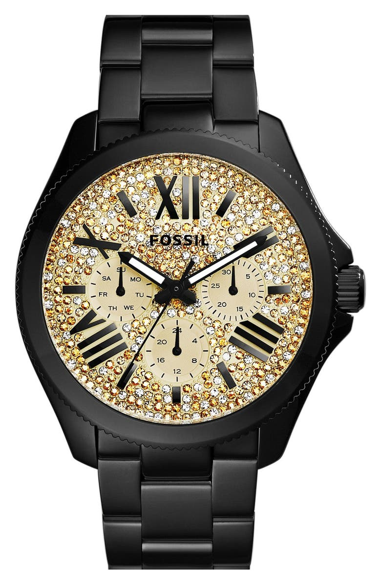 FOSSIL 'Cecile' Pavé Dial Multifunction Bracelet Watch, 40mm, Main, color, 001