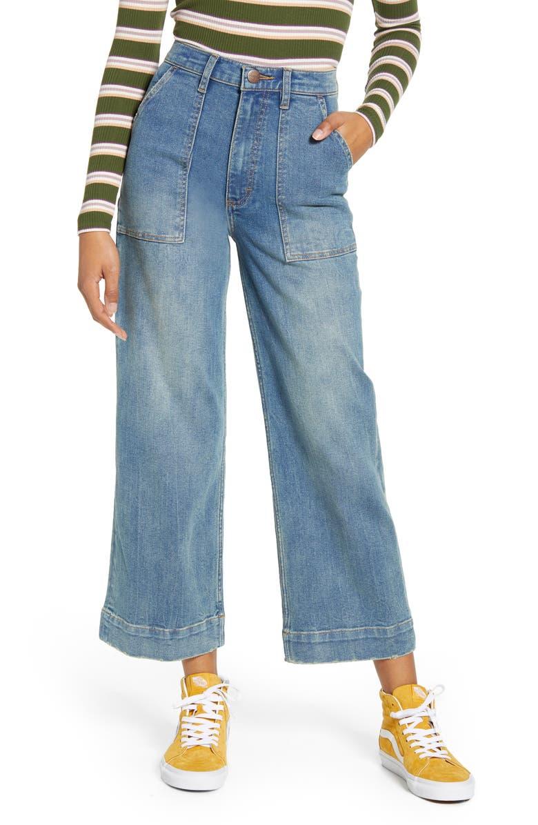 WRANGLER Utility Crop Wide Leg Jeans, Main, color, HURRICANE