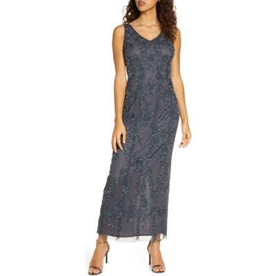 Petite Pisarro Nights Beaded Mesh Gown, Blue