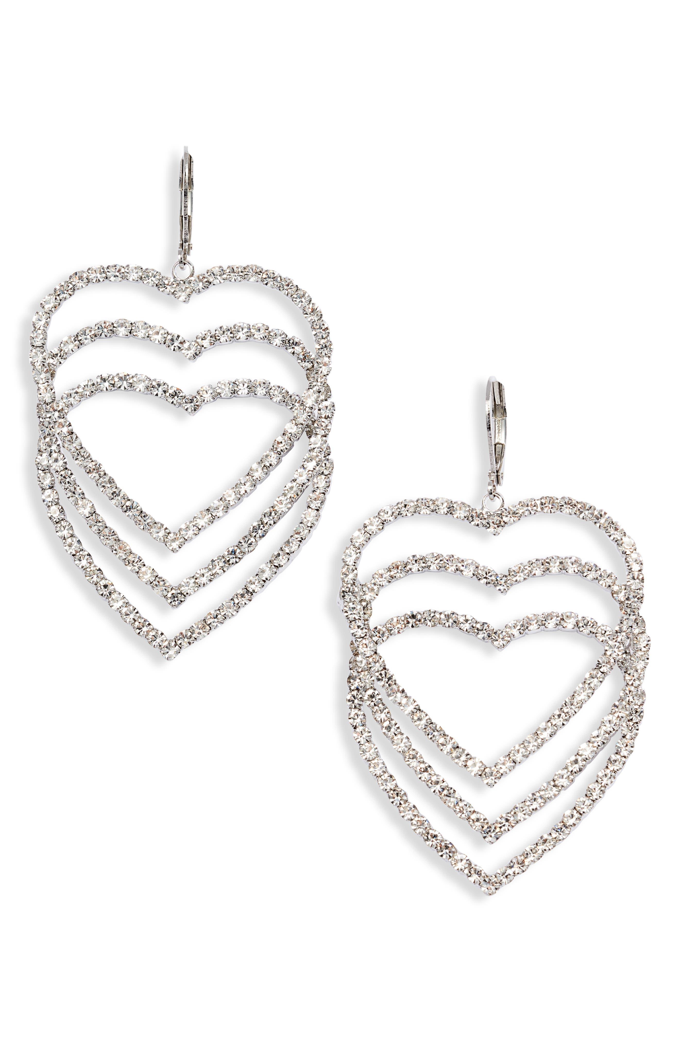 Crystal Open Heart Drop Earrings