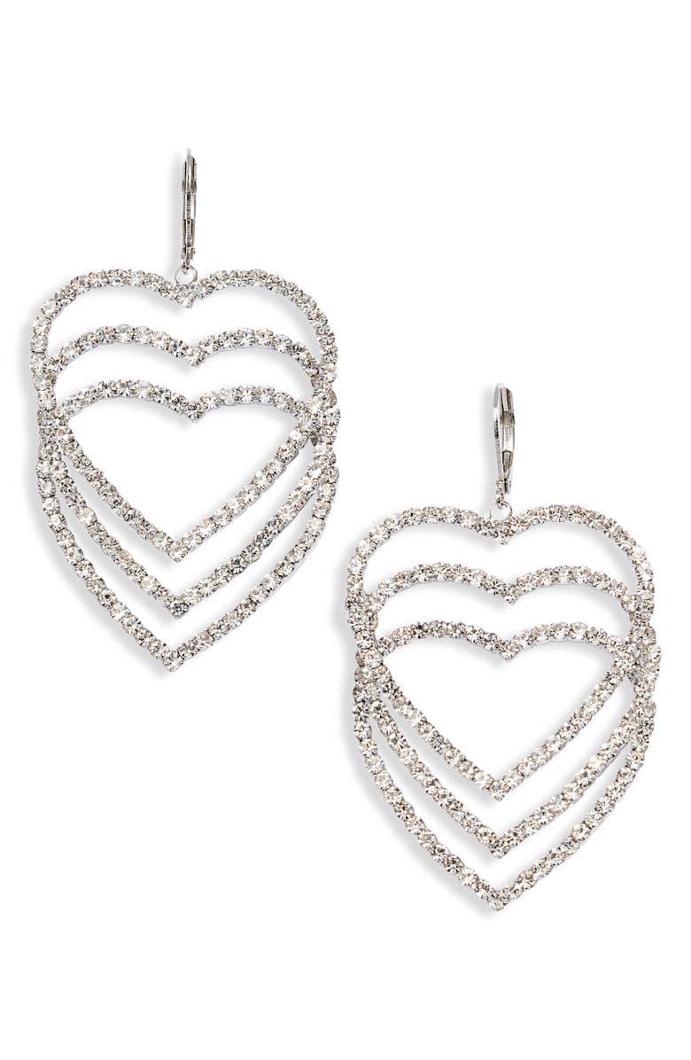 CRISTABELLE Crystal Open Heart Drop Earrings, Main, color, CRYSTAL/ RHODIUM