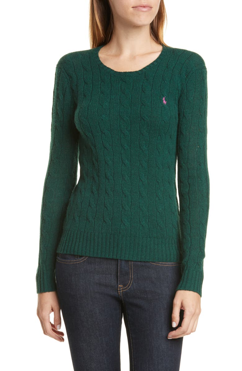 POLO RALPH LAUREN Juliana Cable Sweater, Main, color, FOREST GREEN HEATHER