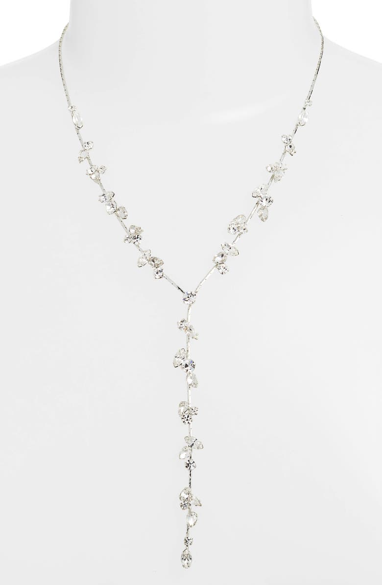 CRISTABELLE Multi Stone Y-Necklace, Main, color, CRYSTAL