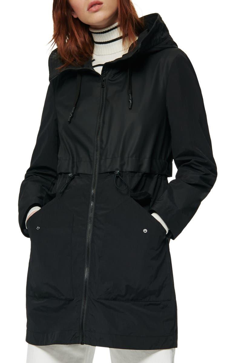 MARC NEW YORK Shippan Water Resistant Raincoat, Main, color, BLACK