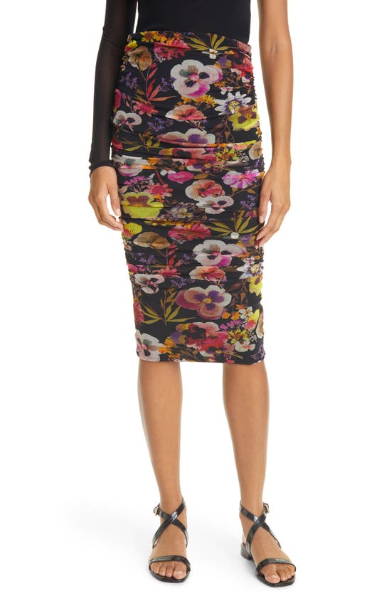 FUZZI Skirts FLORAL RUCHED TULLE SKIRT