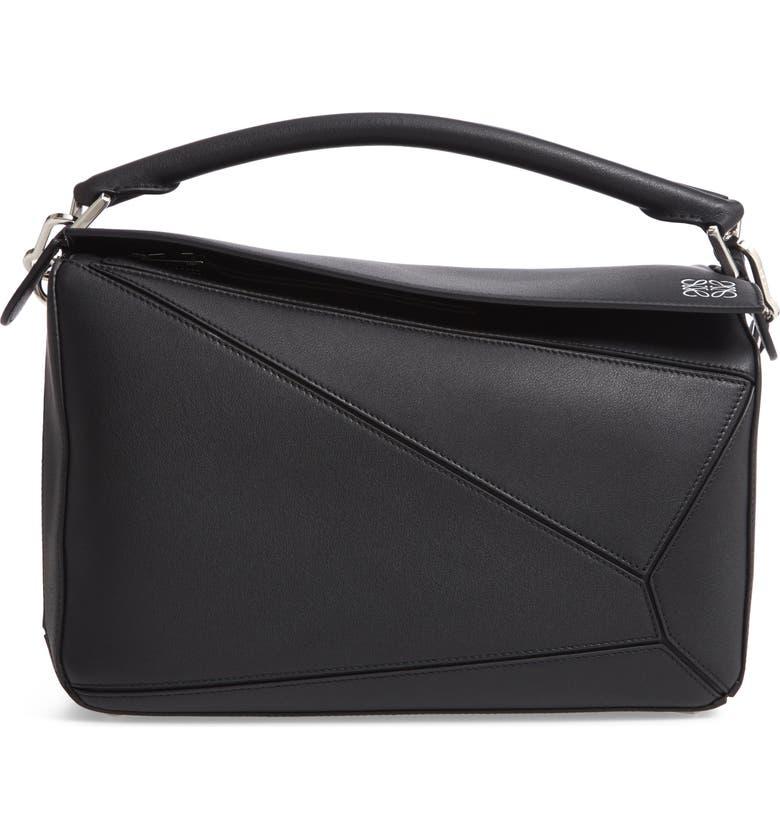 LOEWE Puzzle Medium Leather Shoulder Bag, Main, color, BLACK