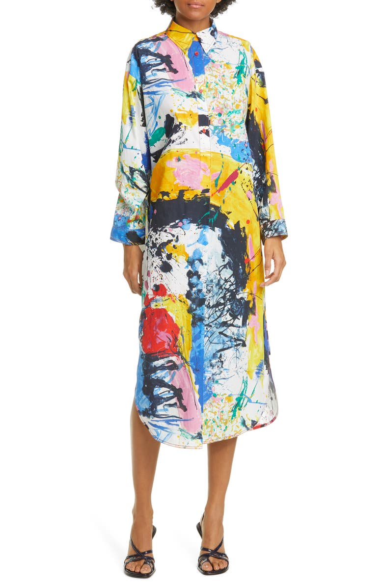 SIES MARJAN Paint Print Long Sleeve Midi Dress, Main, color, 100