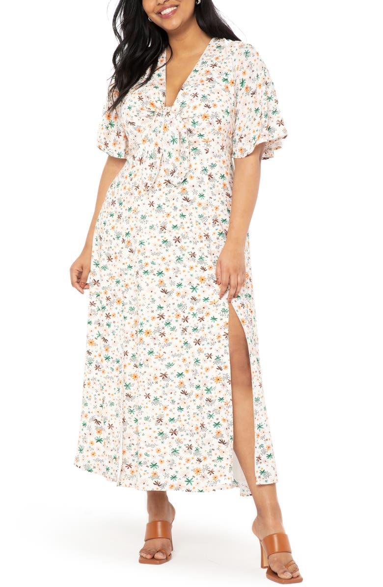 ELOQUII Flutter Sleeve Dress, Main, color, MORNING GLORY